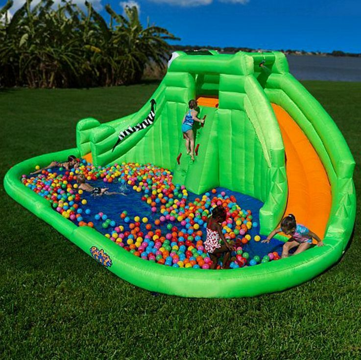 Pools For Backyards Inflatable : Outdoor Backyard Inflatable Water Park Kids Wet Pool Slide Bounce Fun