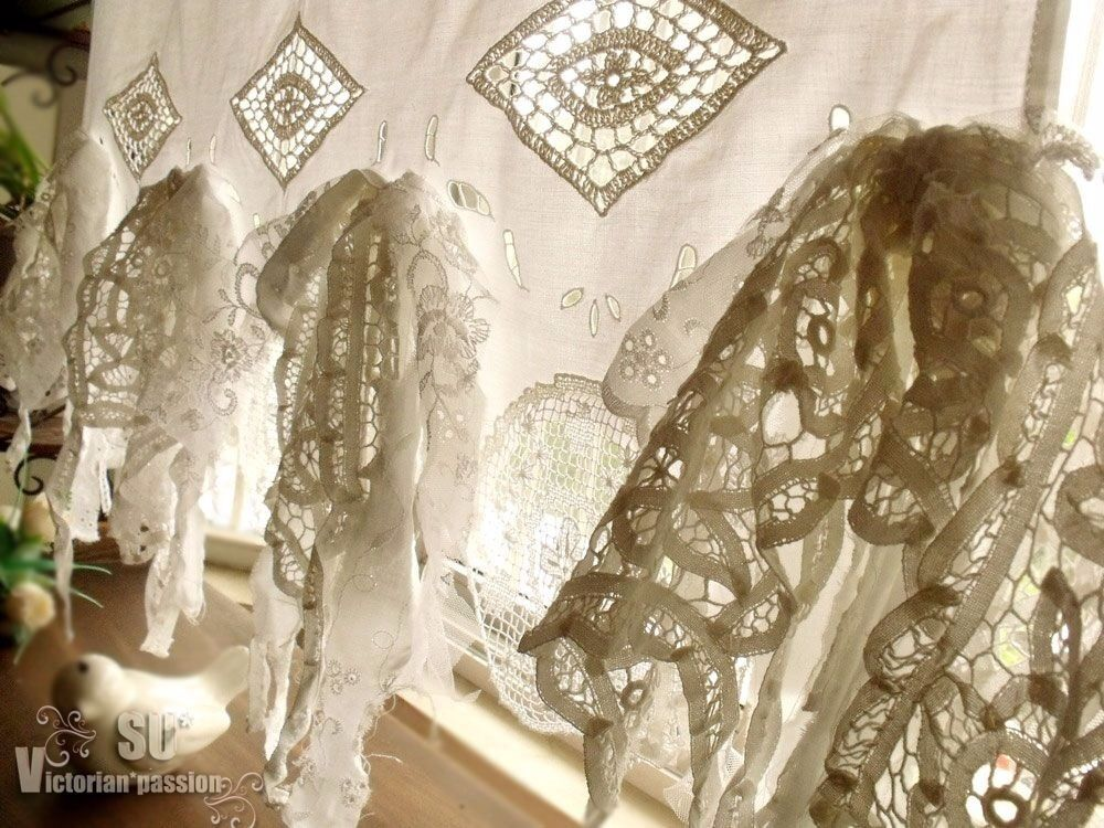 French Country Fringes Shabby Chic Vtg Lace Kitchen Cafe