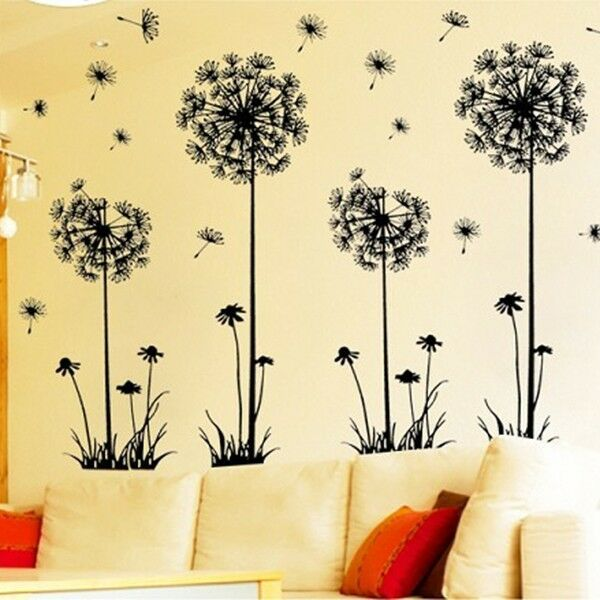 Flower removable bed room art mural vinyl wall sticker for Dandelion wall mural