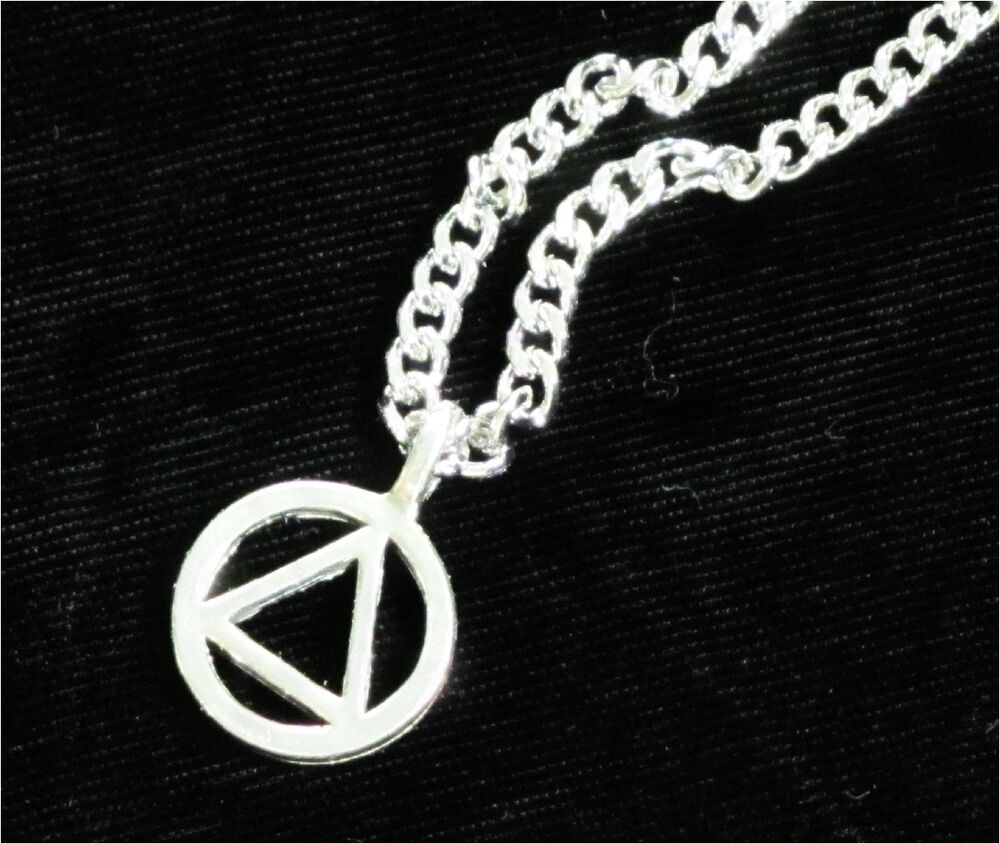 Aa Symbol Chain Necklace Pendant 12 Step Recovery Jewelry