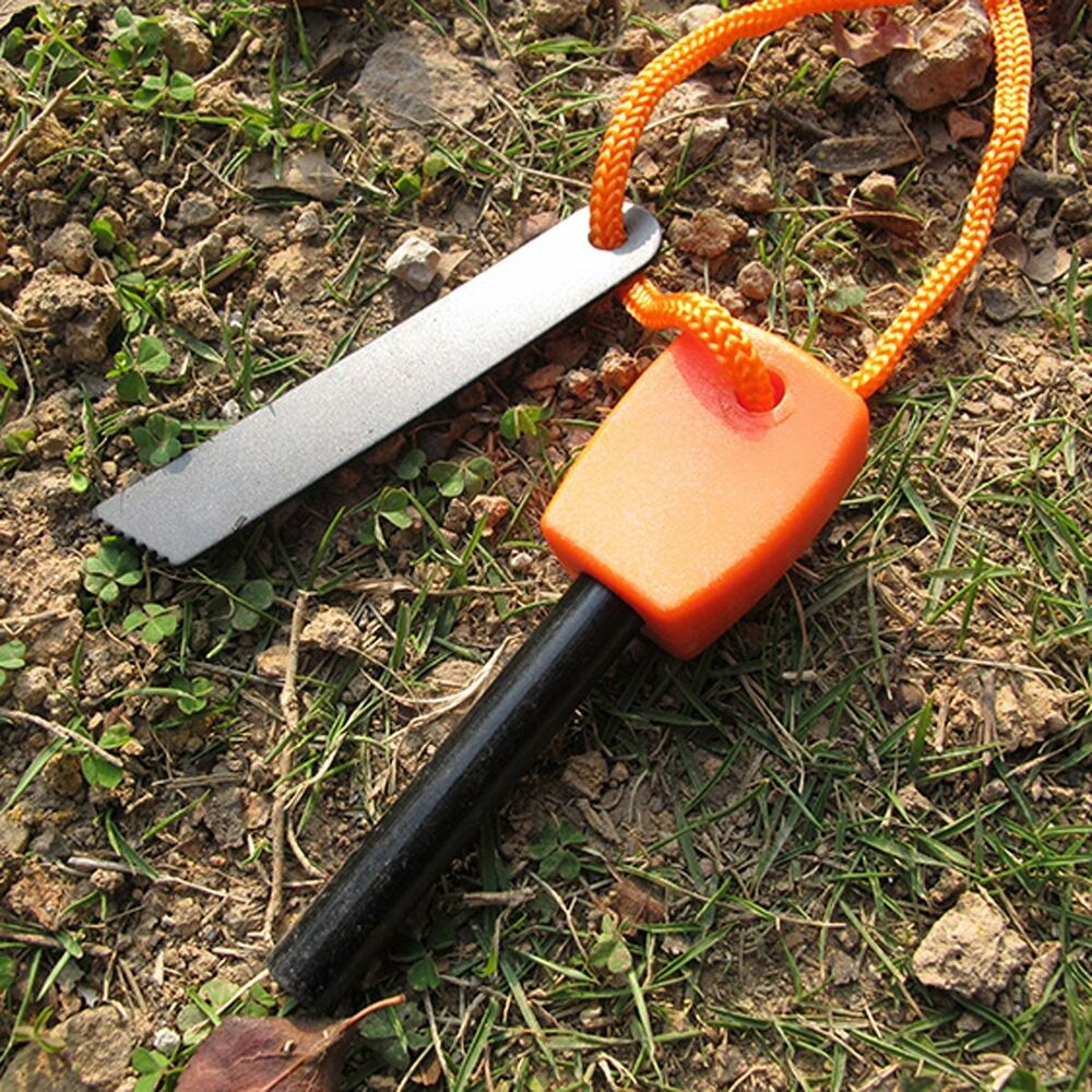 outdoor camping hunting magnesium flint and steel striker survival fire stick ebay. Black Bedroom Furniture Sets. Home Design Ideas