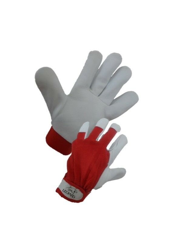 White Leather Drivers Work Gloves Safety Diy Quality