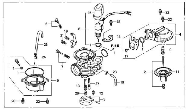 honda oem carburetor assembly elite 80 1986
