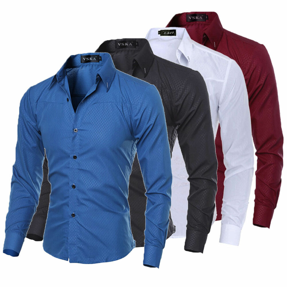 Men Slim Fit Button Down Shirt Long Sleeve Dress Shirt