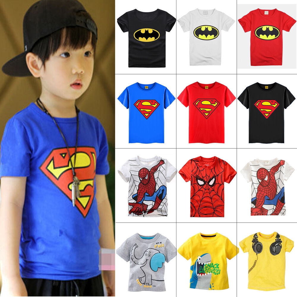 New kids girls boys short sleeve tops t shirt 1 7y cartoon Boys superhero t shirts