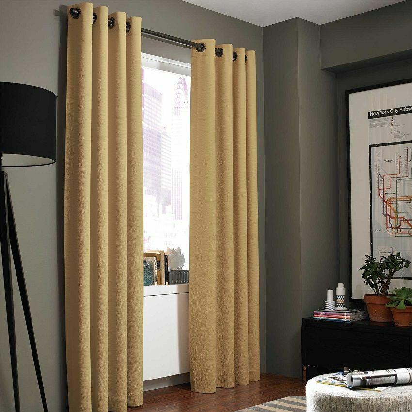 1 Gold Solid Panel Grommet Thermal Lined Blackout Window