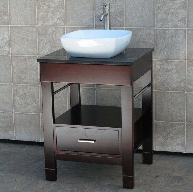 24 Bathroom Vanity Cabinet Black Granite Stone Top Ceramic Vessel Sink Cg 7068 Ebay