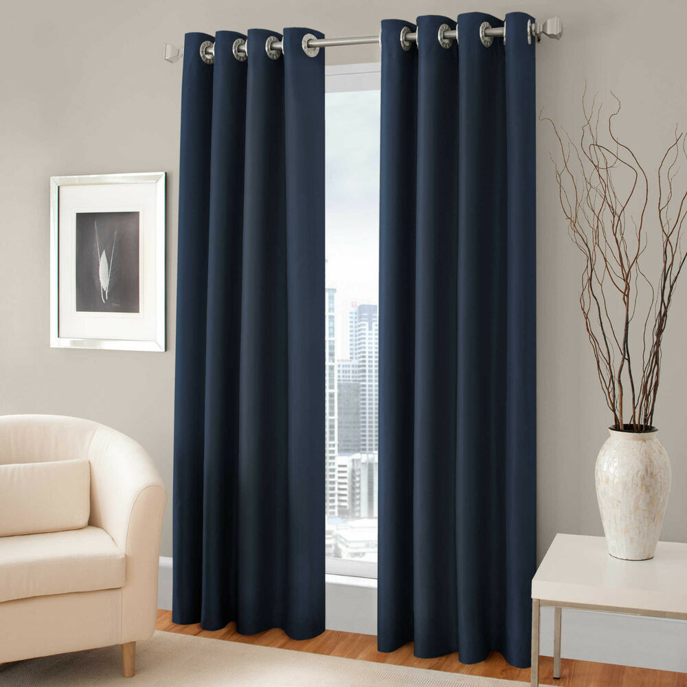 2 Panels Navy Blue Lined Thermal Blackout Grommet Window