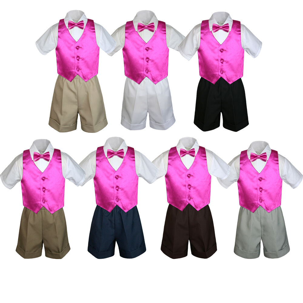 1ea48af5a Details about 4pc Baby Boys Toddler Formal Fuchsia Vest Bow tie Black Khaki  Shorts Set Sm-4T