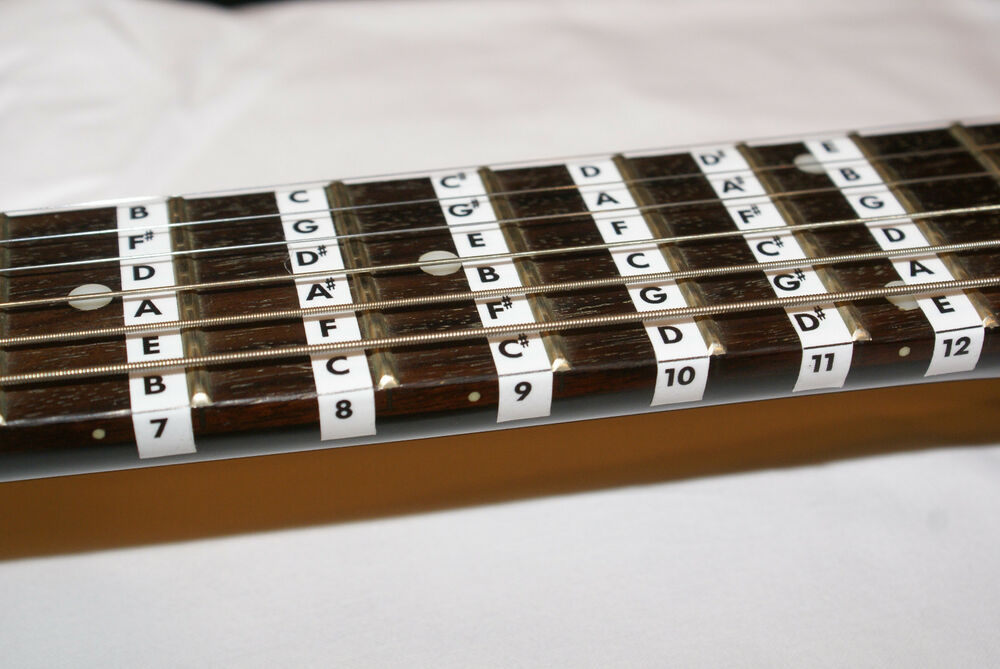 guitar fretboard note labels stickers fret learn fret note ebay. Black Bedroom Furniture Sets. Home Design Ideas