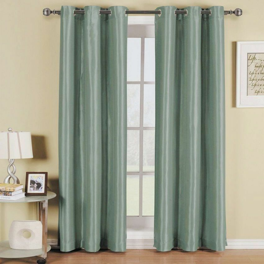 2 Panels Teal Blue Lined Thermal Blackout Grommet Window