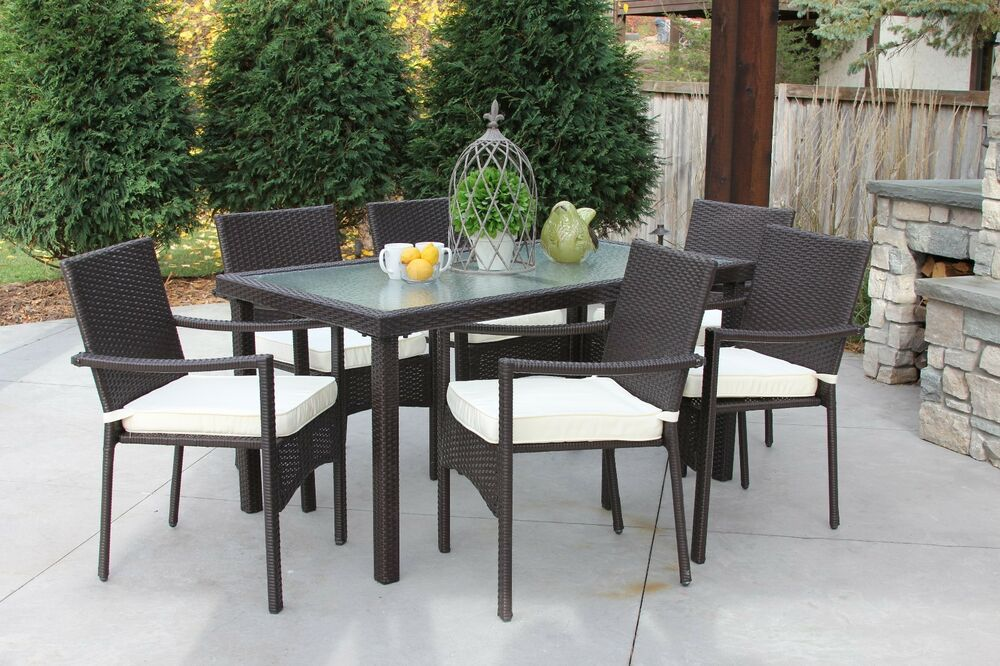 7pc baker outdoor all weather wicker rattan table patio for All weather garden furniture