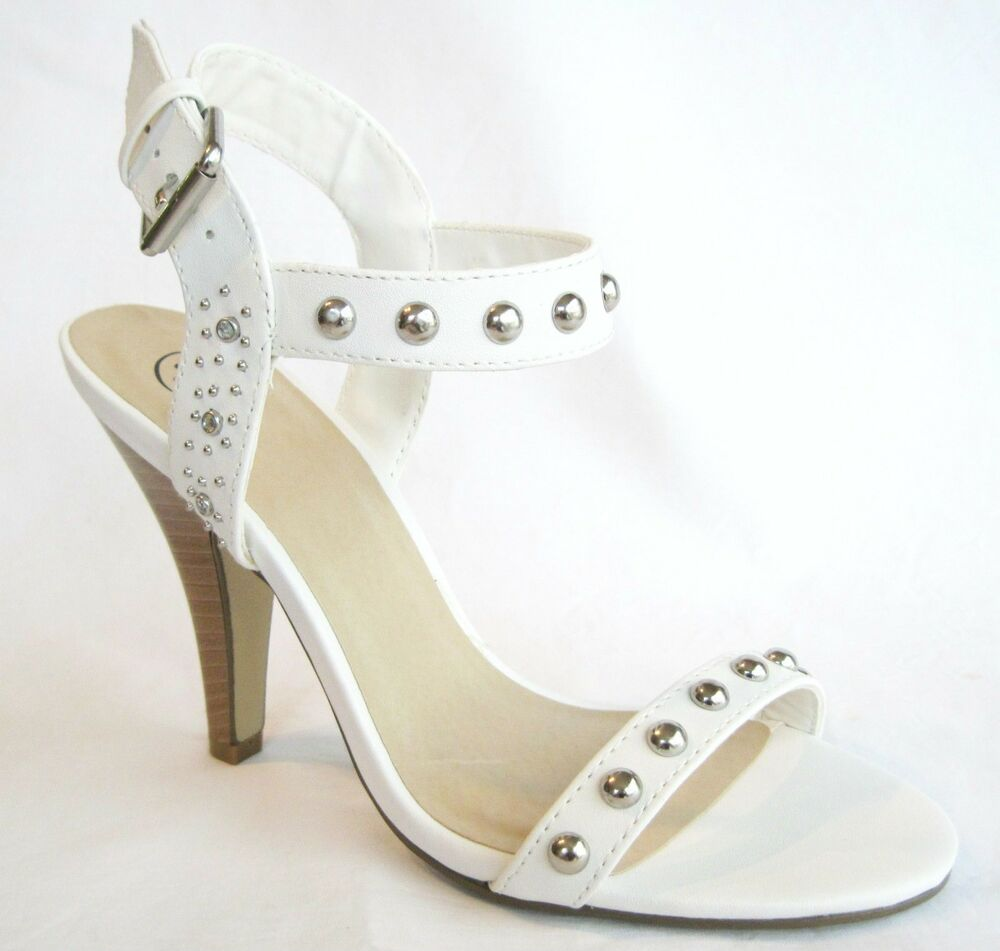 White Mid Heel Sandals Ankle Strap Open Toe Women S Shoes