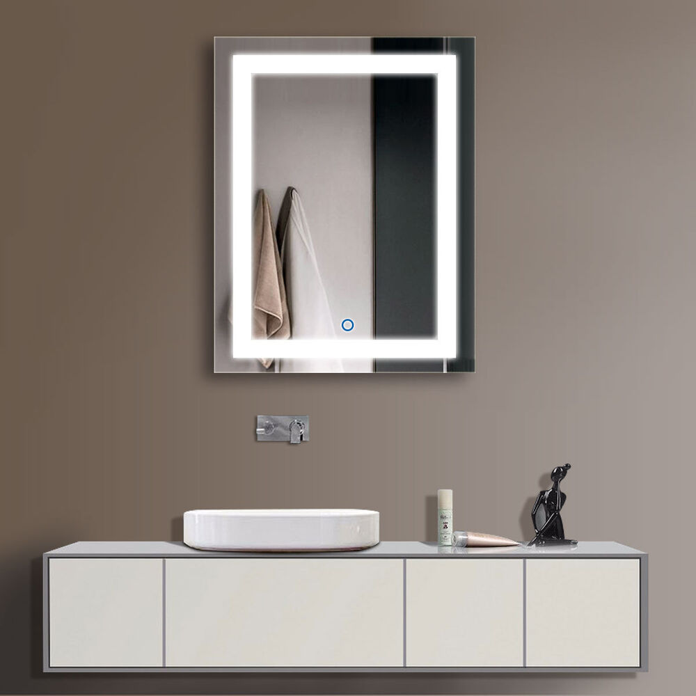 decoraport vertical led illuminated lighted bathroom wall mirror w touch button ebay. Black Bedroom Furniture Sets. Home Design Ideas
