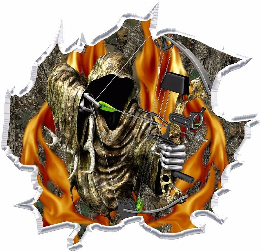 Ripped Forest Camo Flame Fire Grim Reaper Bow Hunter Hood
