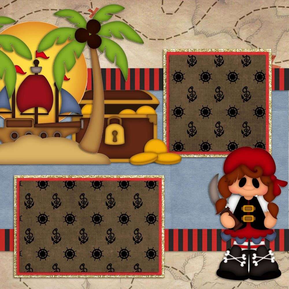 Premade-Double Page-Scrapbook Layouts- Pirate Kids