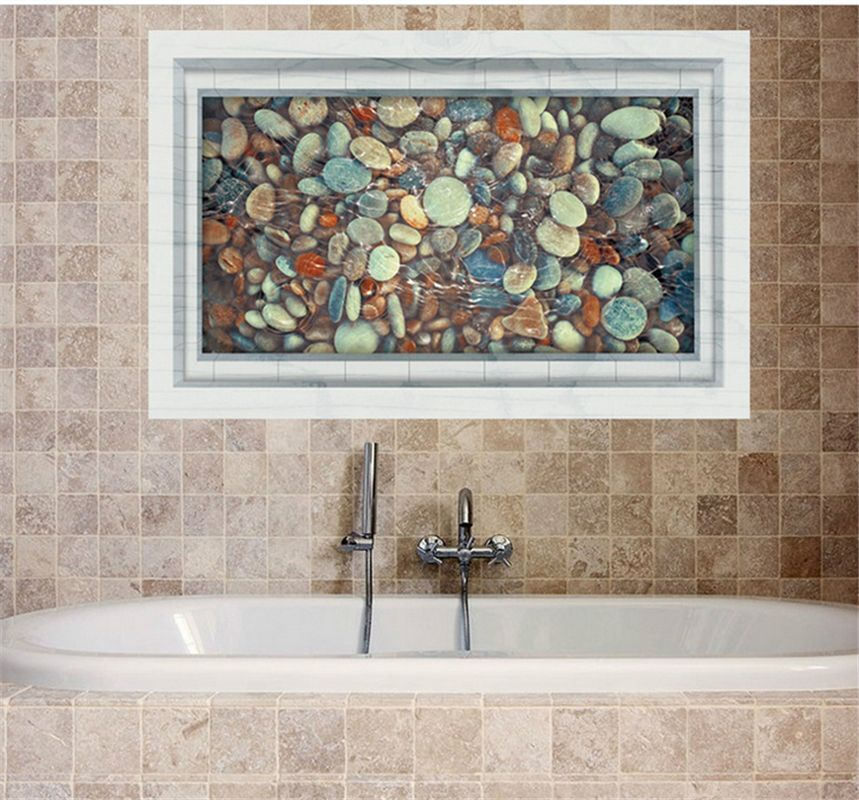 3d cobblestone art vinyl decal mural bathroom decor home for 3d bathroom decor
