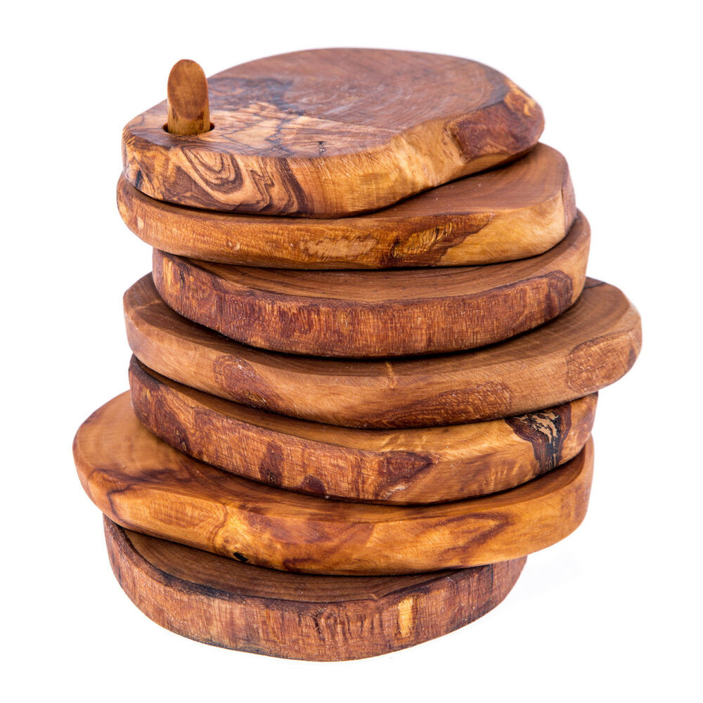 Olive wood drink coasters handmade rustic set of 6 with for Handmade drink coasters