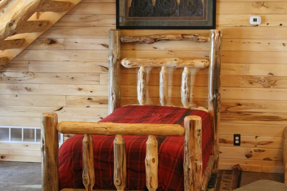 Log bed log cabin style half log side rails mattress for Log cabin style bunk beds