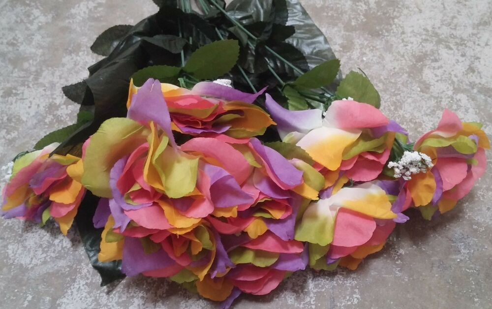 Open Rose Bouquet Multi Color Roses Silk Wedding ...