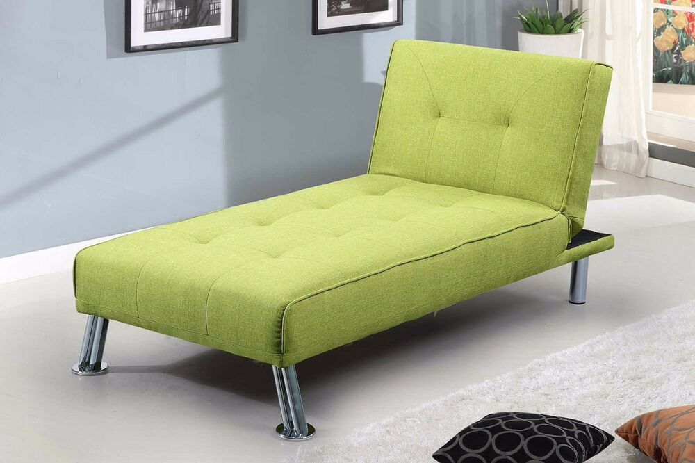 modern chaise lounge click clack single sofa bed chair lime green grey fabric ebay. Black Bedroom Furniture Sets. Home Design Ideas