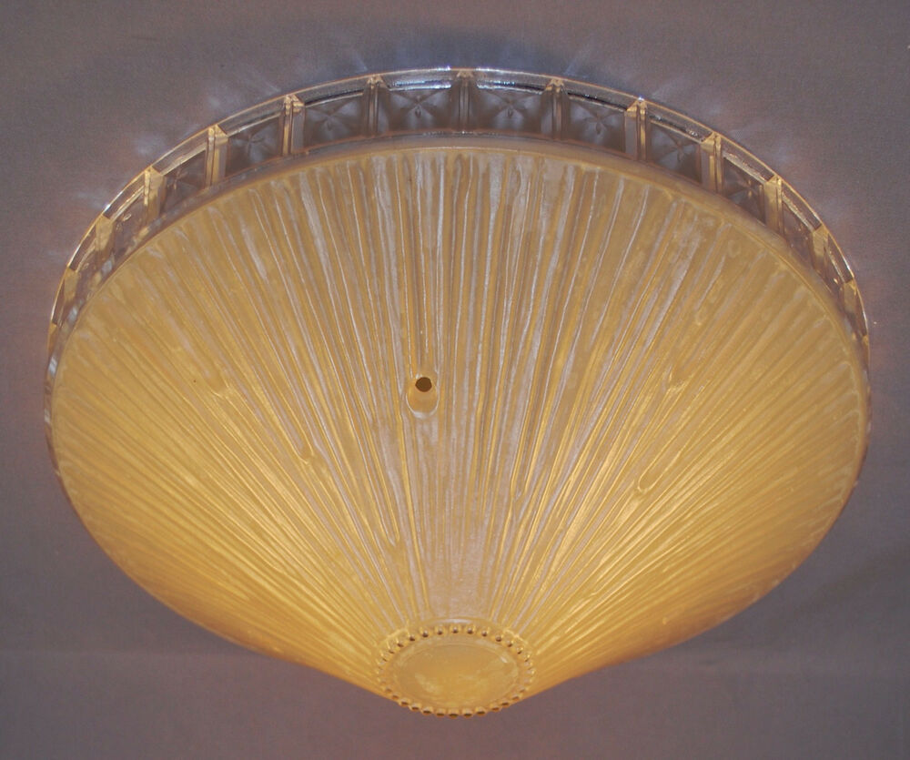 Vintage Antique Glass Clear Ring Shade Ceiling Light Fixture 3 Hole Hangers
