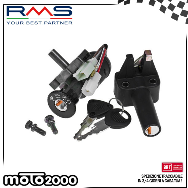 KIT SERRATURE QUADRO AVVIAMENTO SELLA RMS PER MBK BOOSTER SPIRIT YAMAHA BW'S 50