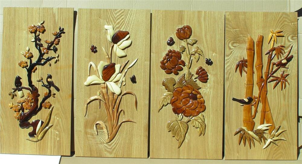 Set Of 4 Beautiful Flower Wall Hanging Handcarved Intarsia