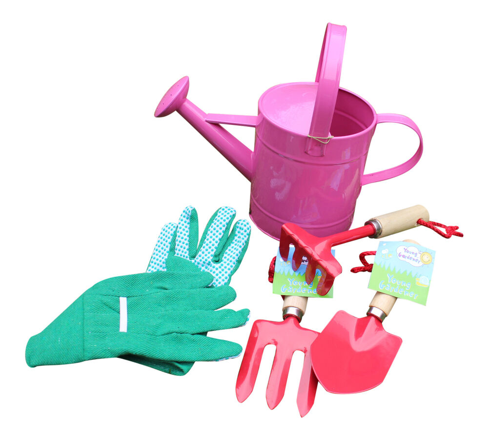 Kids watering can small kit gardening children fork trowel for Gardening kit for toddlers