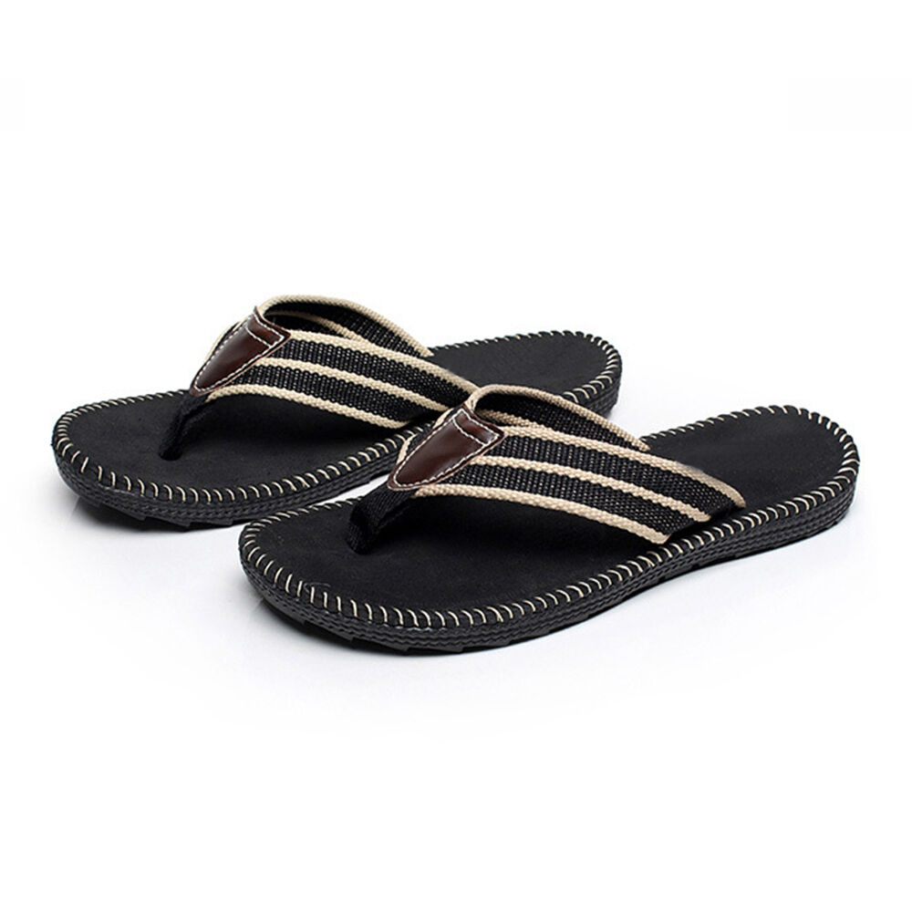 Black Men Flat Flip Flops Casual Slippers Summer Beach ...