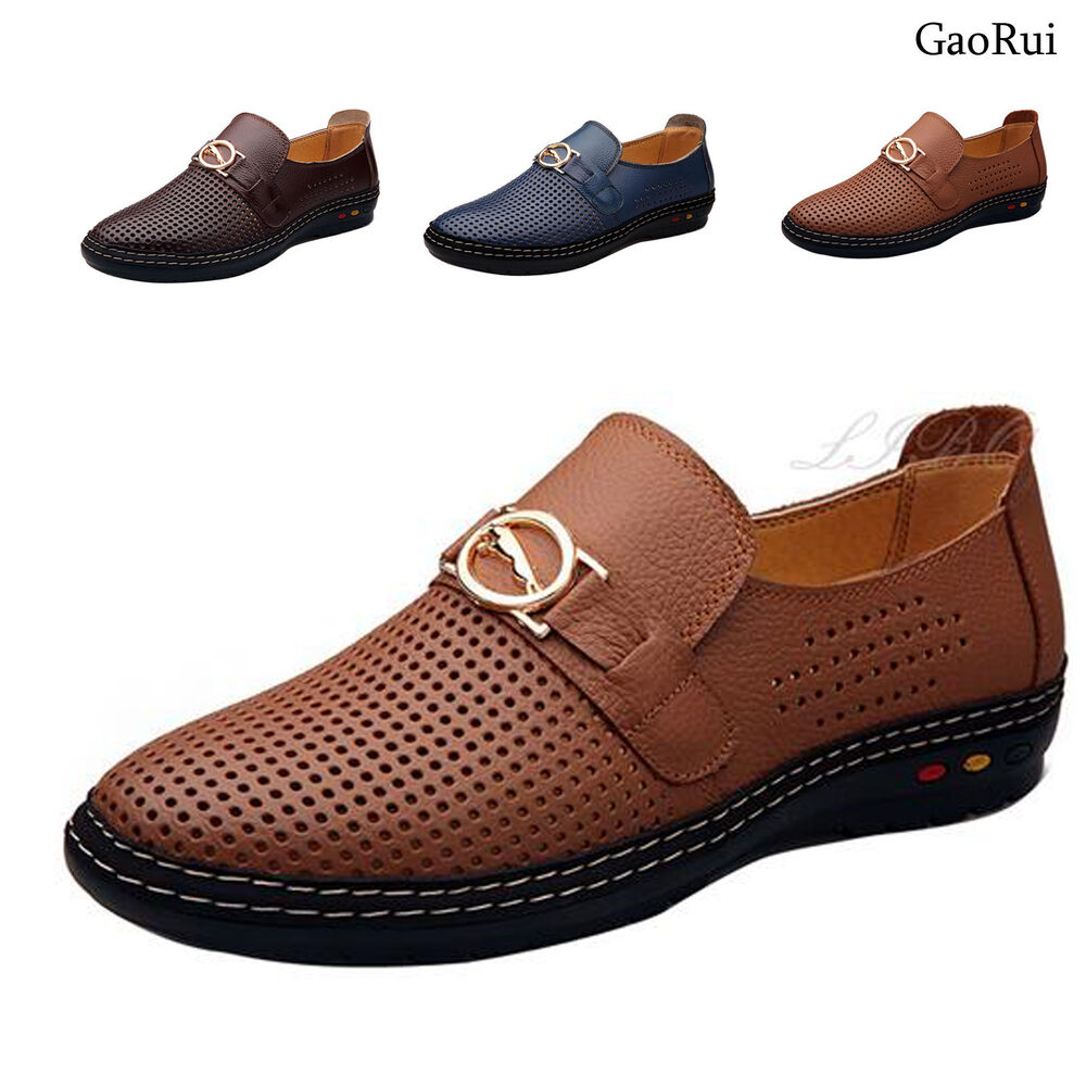 mens hollow out business dress formal leather shoe summer
