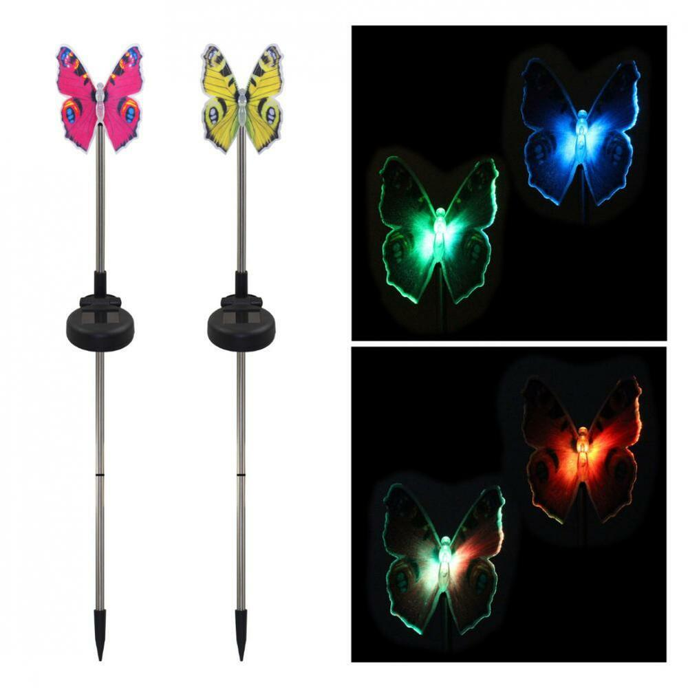 2pcs solar powered butterfly fiber optic wing garden stake color. Black Bedroom Furniture Sets. Home Design Ideas