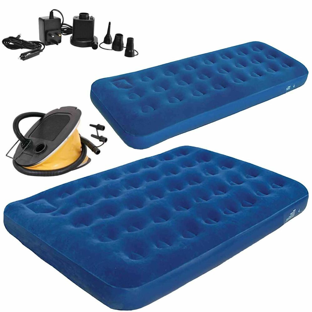 Inflatable Single Double Flocked Airbed Mattress Camping