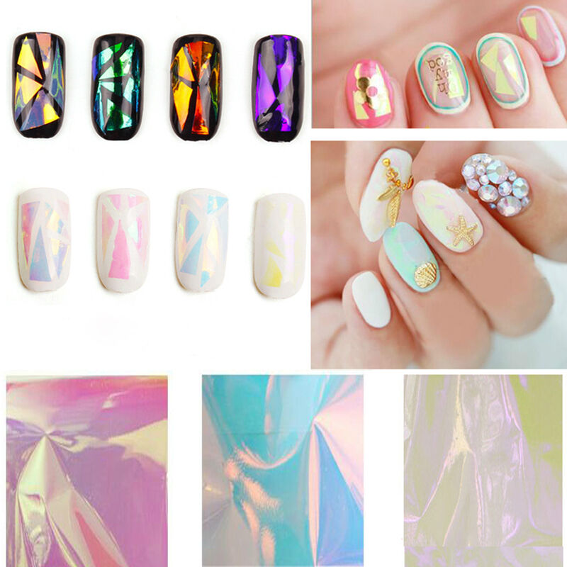 Nail Art Wrap Foils Nails Wraps Transfer Glitter Shattered