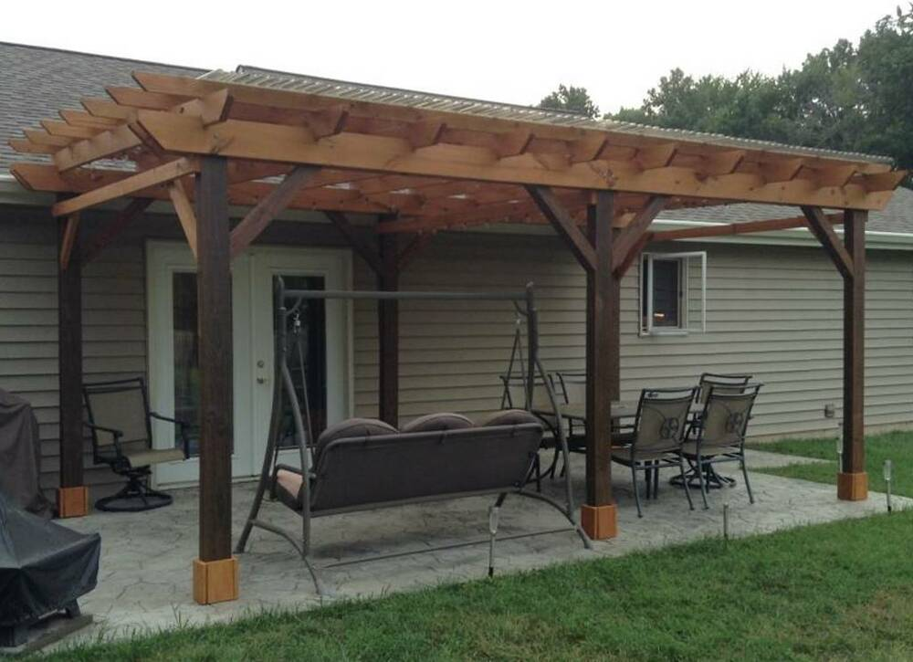 covered pergola plans design diy how to build 12 39 x18 39 step by step instructions ebay. Black Bedroom Furniture Sets. Home Design Ideas
