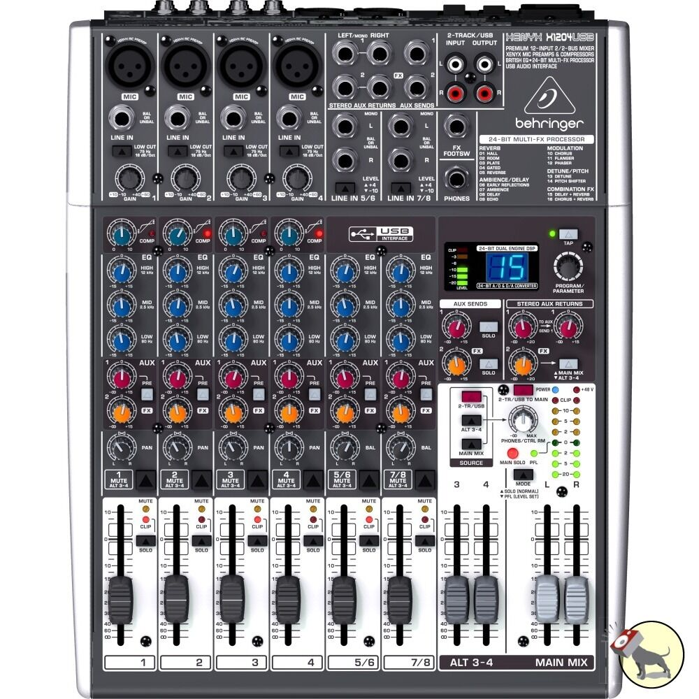 behringer xenyx x1204usb 12 input 2 2 bus mixer mac windows usb audio interface ebay. Black Bedroom Furniture Sets. Home Design Ideas