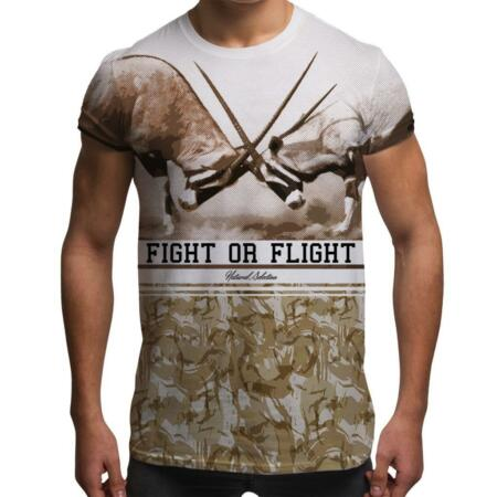 img-Fight Or Flight Gazelle Retro All Over Print Army Desert Camouflage Mens T Shirt