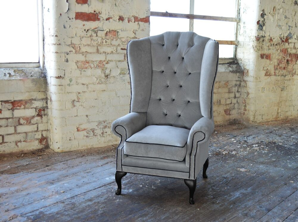 MODERN QUEEN ANNE CHESTERFIELD WING ARM CHAIR EXTRA HIGH ...