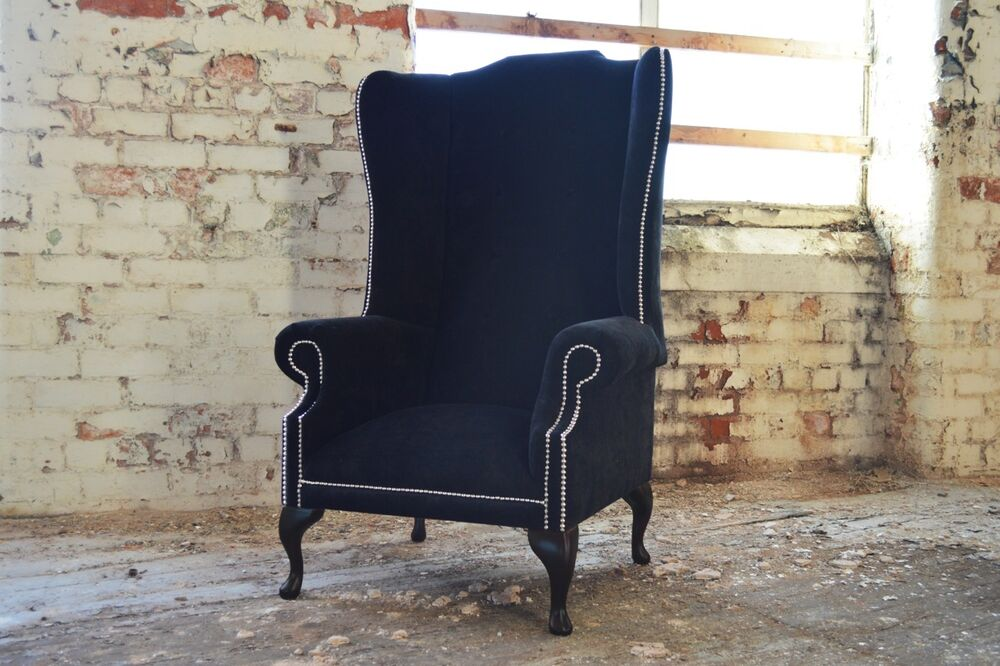Modern queen anne chesterfield wing arm chair extra high for Modern queen anne furniture