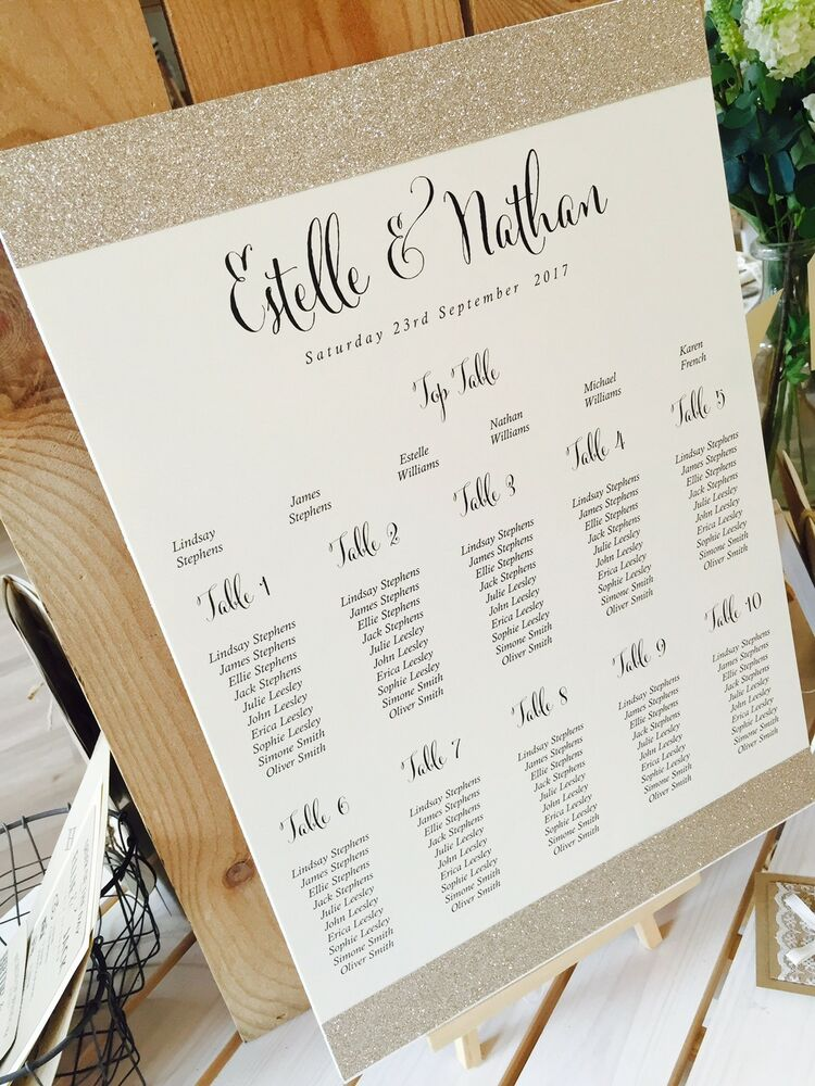 rustic ivory gold glitter estelle a3 wedding table seating plan