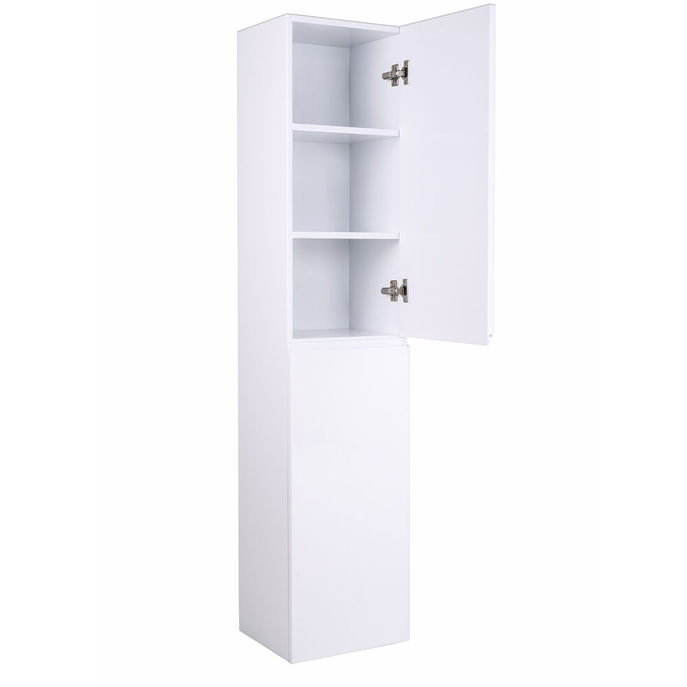 Designer 1600mm wall mounted white gloss tall bathroom - Wall mounted bathroom storage units ...
