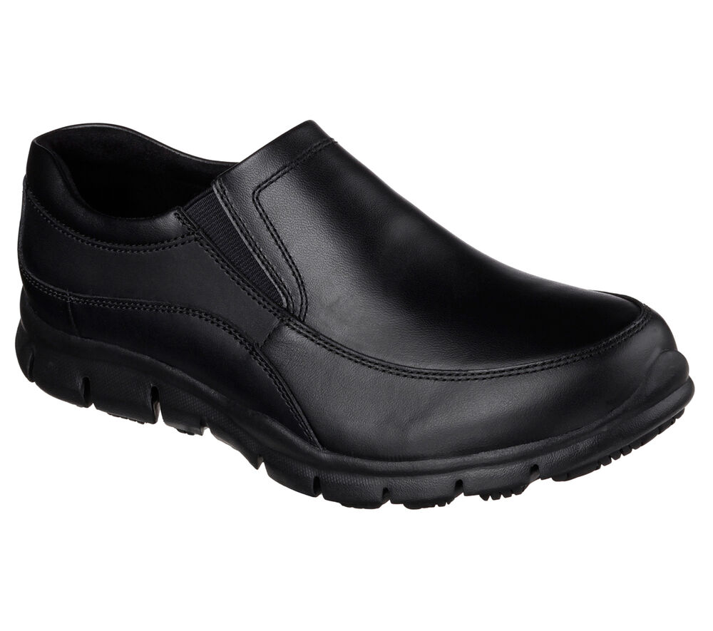 76560 Black Skechers Shoes Women Memory Foam Work Slip Resistant Leather Loafer | EBay
