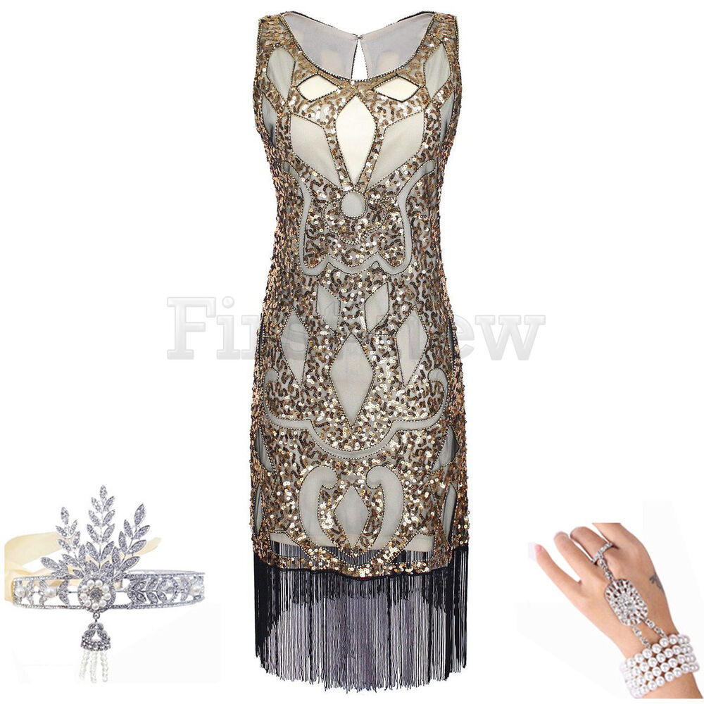 1920s Dress Great Gatsby Charleston Flapper Party Sequin ...