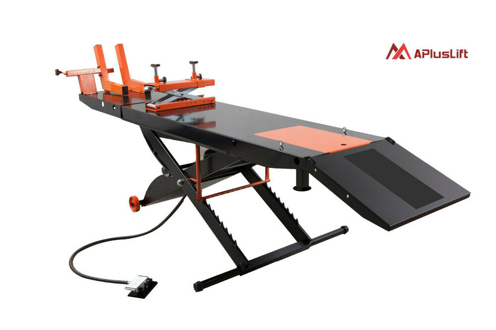 Air Motorcycle Lift Table : New apluslift mt lb air op motorcycle lift table