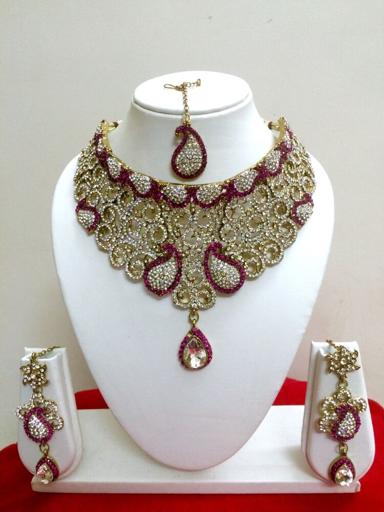 Indian Bollywood Style Gold Plated Pink Fashion Bridal