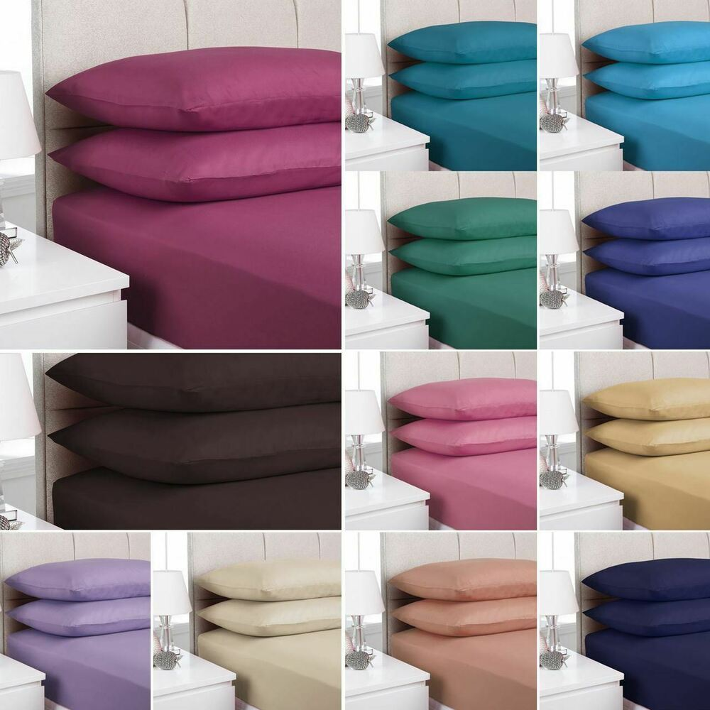 plain fitted bed sheets dyed colour all sizes single double king super king ebay. Black Bedroom Furniture Sets. Home Design Ideas