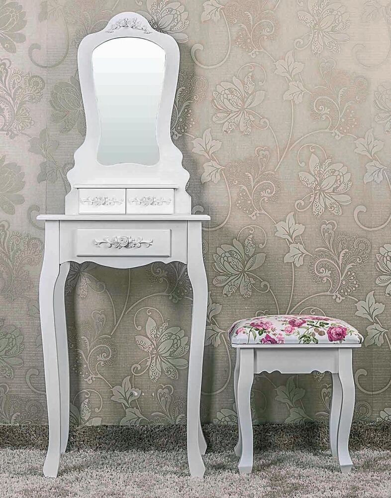 small white bedroom dressing table victorian shabby chic vanity mirror stool ebay. Black Bedroom Furniture Sets. Home Design Ideas