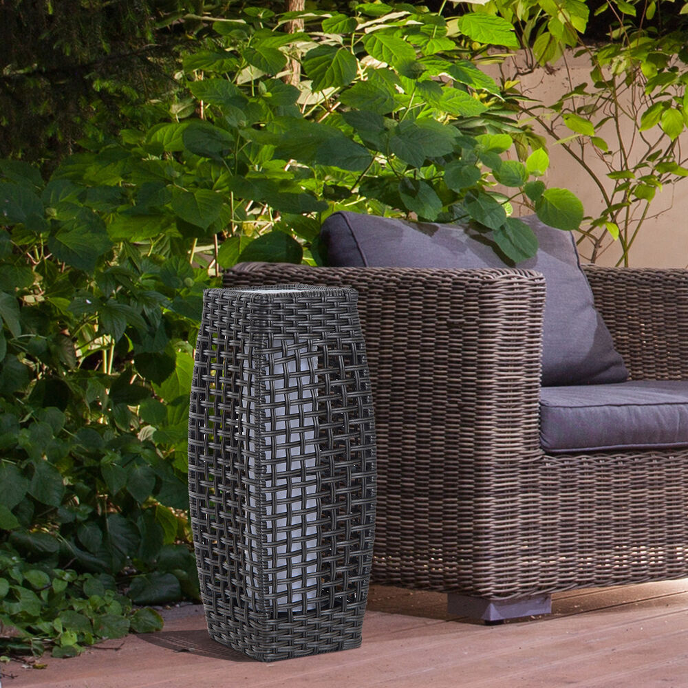 Outsunny Rattan Lamp Solar LED Powered Effect Garden Patio ...