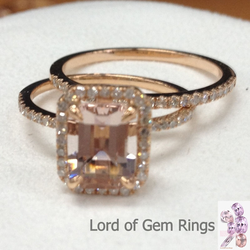 2 Ring Sets 6x8mm Emerald Cut Morganite with Diamond Wedding Real 14K Rose G