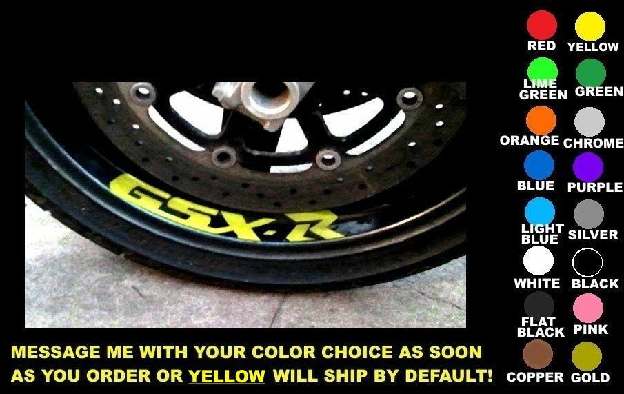 Suzuki Gsxr 750 For Sale >> GSX-R WHEEL / RIM DECALS, SET OF 2, ANY COLOR! suzuki gsxr 600 750 1000 1100 gsx | eBay